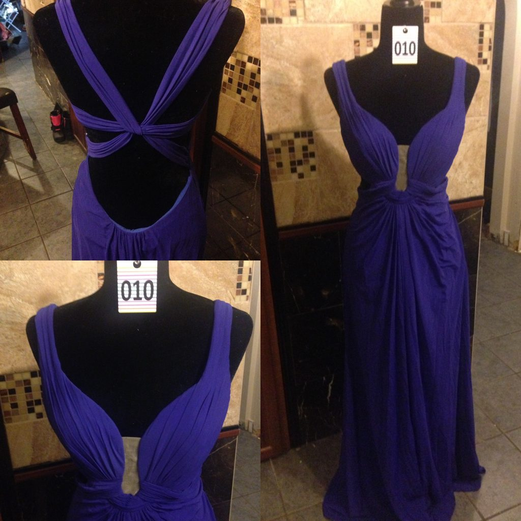 Gown 010 - La Femme, Size 4 , Deep purple polyester lining, mesh overlay, Grecian style