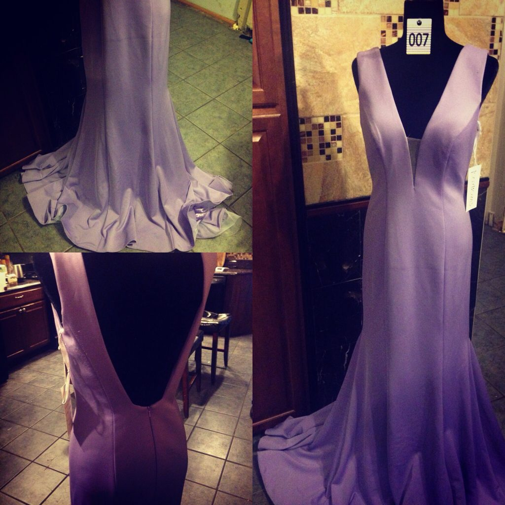 Gown 007 - Tony bowls, Size 6, Lilac satin stretch-fabric, V-back mermaid skirt