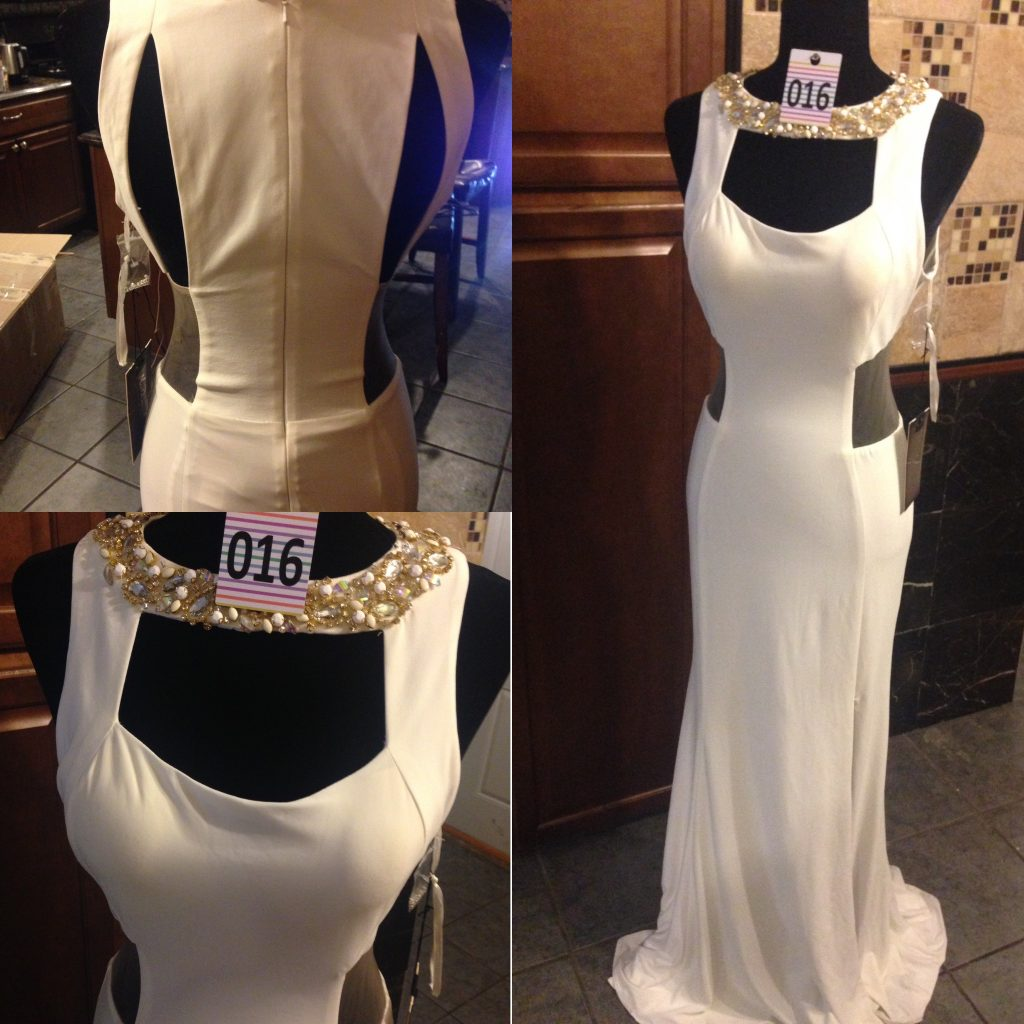 Gown 016 - Mac Duggal, Size 4, Cream Grecian-style, stretch polyester, cut-out mesh detail diamanté collar