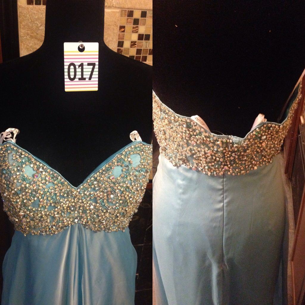 Gown 017 - Jovani, Size 8, Baby blue satin and chiffon strapless, all-diamanté bodice