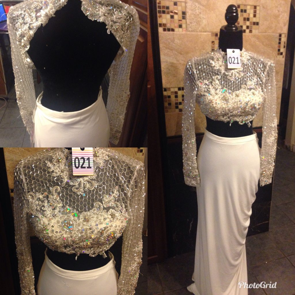 Gown 021 - Jovani, Size 4, Cream two-piece, full- length, high-waist, stretch-fabric skirt with full-sleeve mesh with silver beaded and sequined crop-top